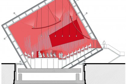 Sezione longitudinale dell'auditorium © Renzo Piano Building Workshop