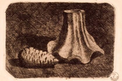 Giorgio Morandi - Natura morta con pigna e frammento di vaso